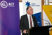 Aspen Medical Executive Chairman, Glenn Keys AO, announcing the launch of the company's mentoring program for exporting businesses in Canberra at the ACT Export Awards 2019