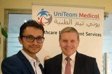 Sudeed Acharya (left), newly-appointed GM of Uniteam Medical with Aspen Medical's CEO, Bruce Armstrong
