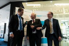 Prof Mark Kendall, Prof Brian Schmidt and Glenn Keys at the launch of the WearOptimo and Aspen Medical partnership